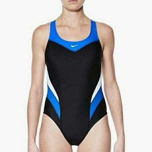 NikeVictory Color Block Power Back Tankl One Piece Training Swimsuit SZ 8
